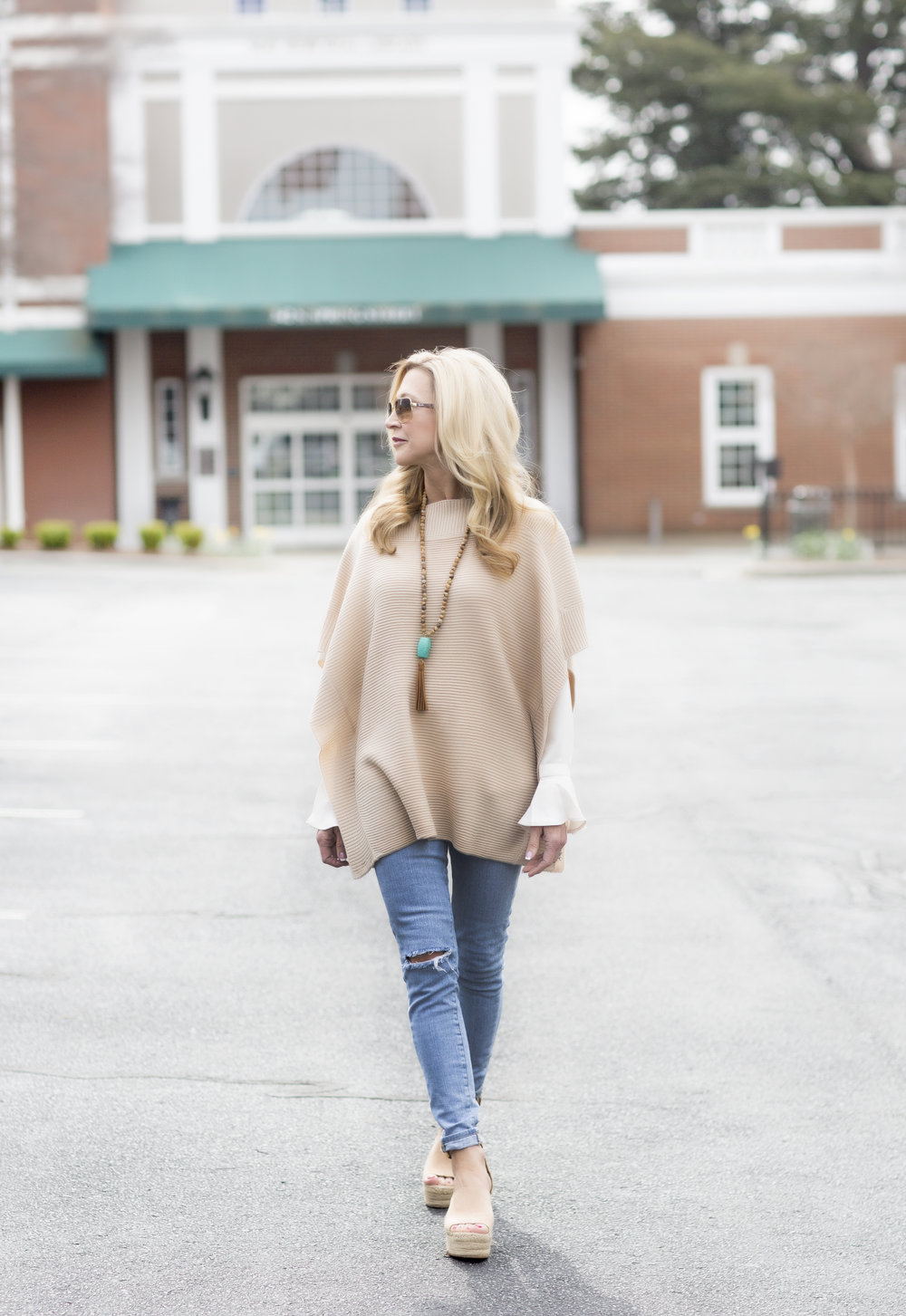 tunic sweater and bell sleeve blouse from Loft