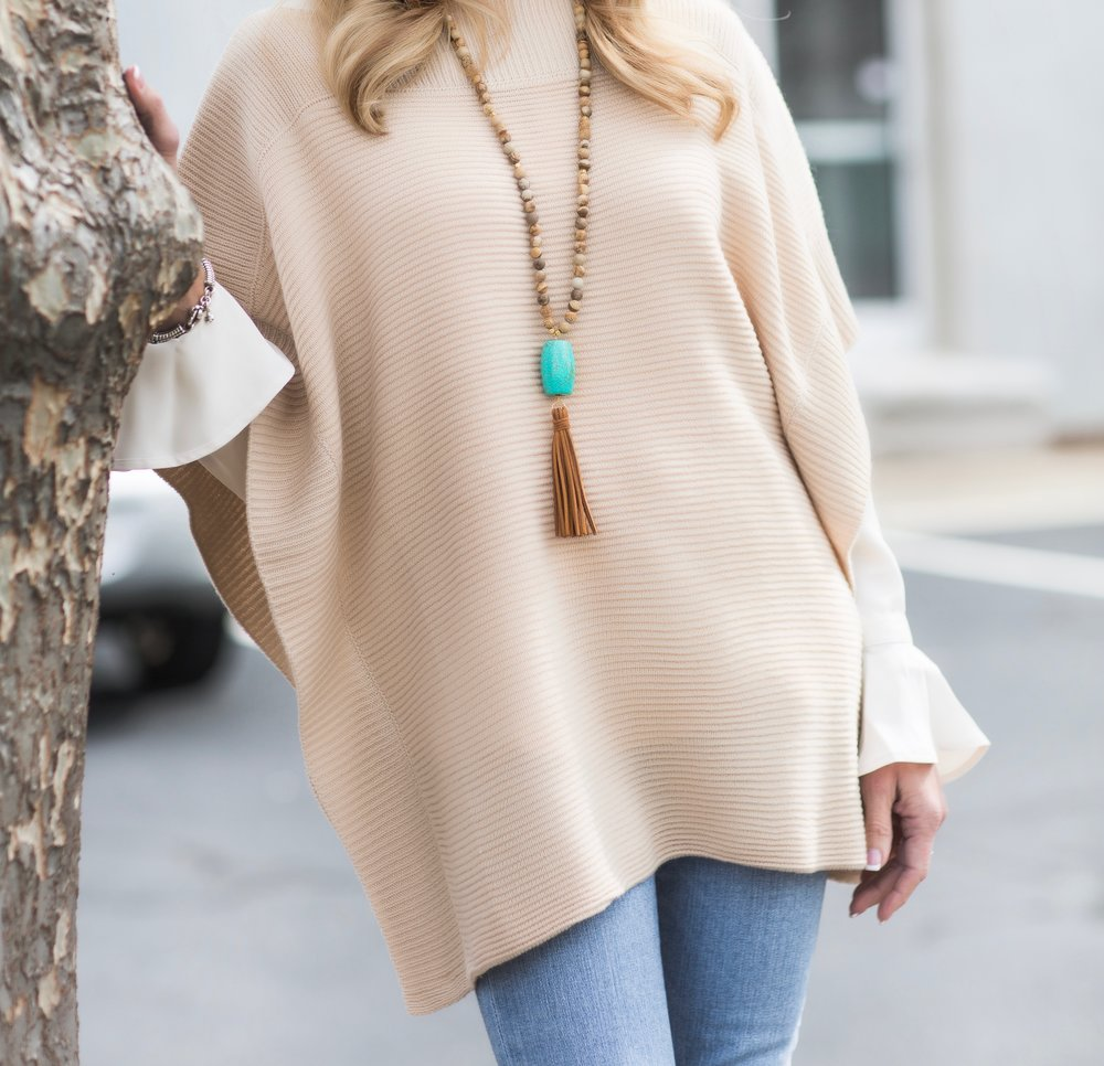 Loft tunic with bell sleeve blouse