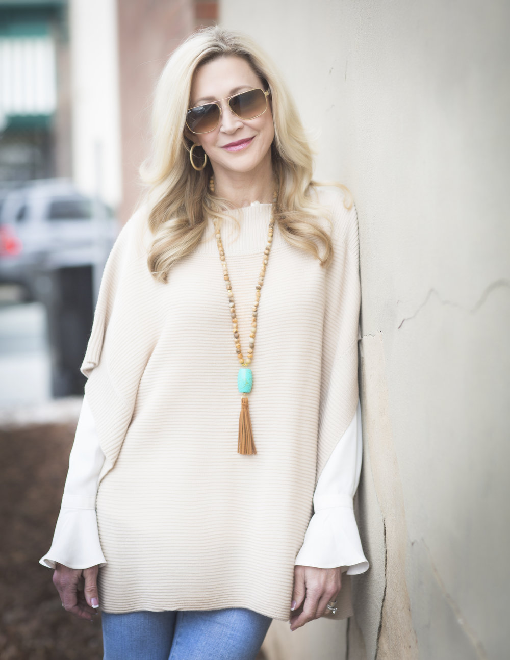 Loft tunic sweater with bell sleeve blouse