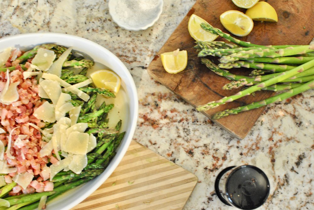 Roasted Asparagus with Parmesan and Pancetta