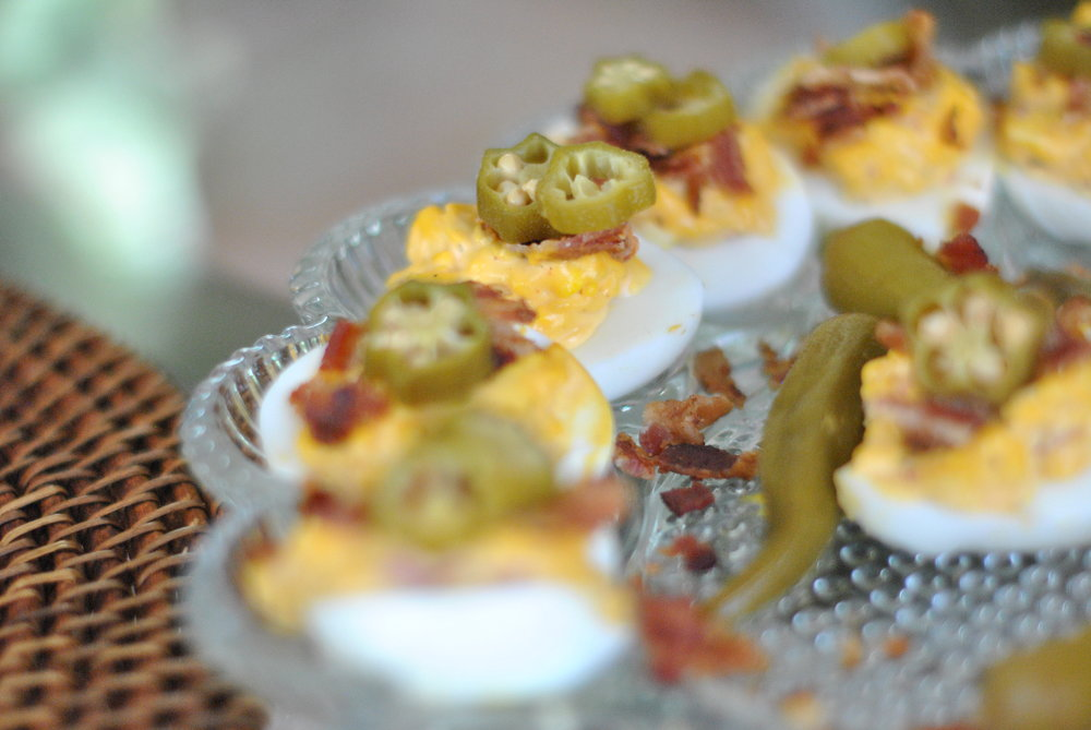 Deviled Eggs with Pimento Cheese and Bacon