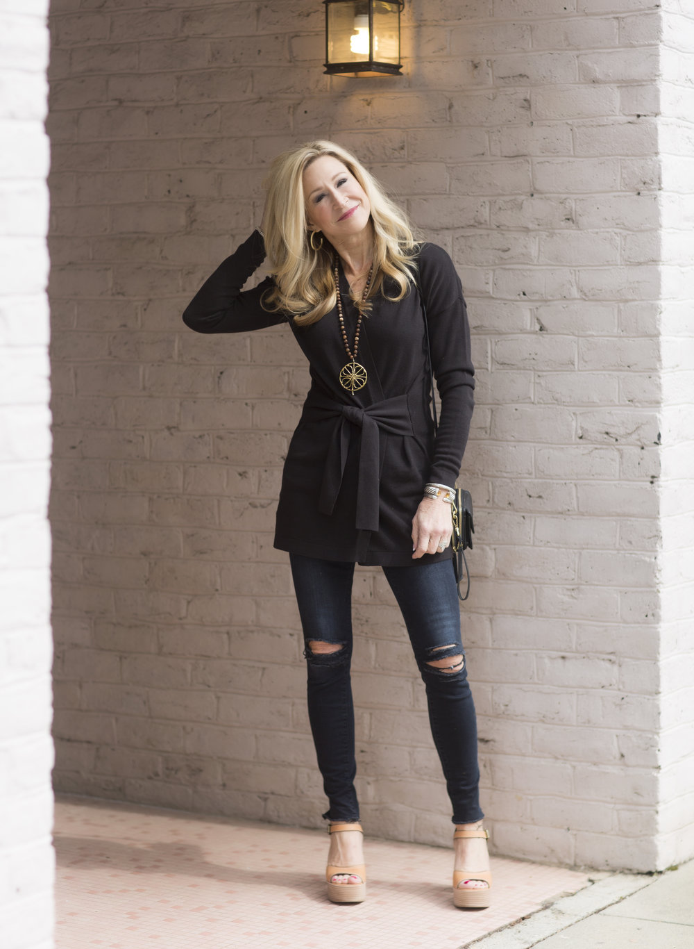 Loft cardigan sweater with See by Chloe shoes