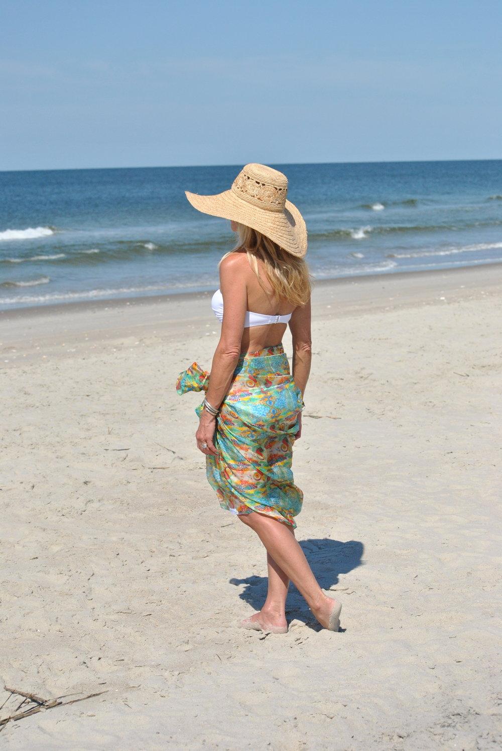 Use a scarf for a beach sarong