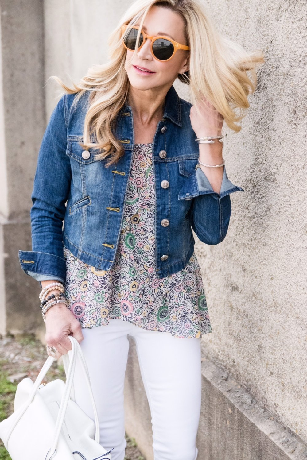 Cabi Top and Jacket with Vera Bradley bag