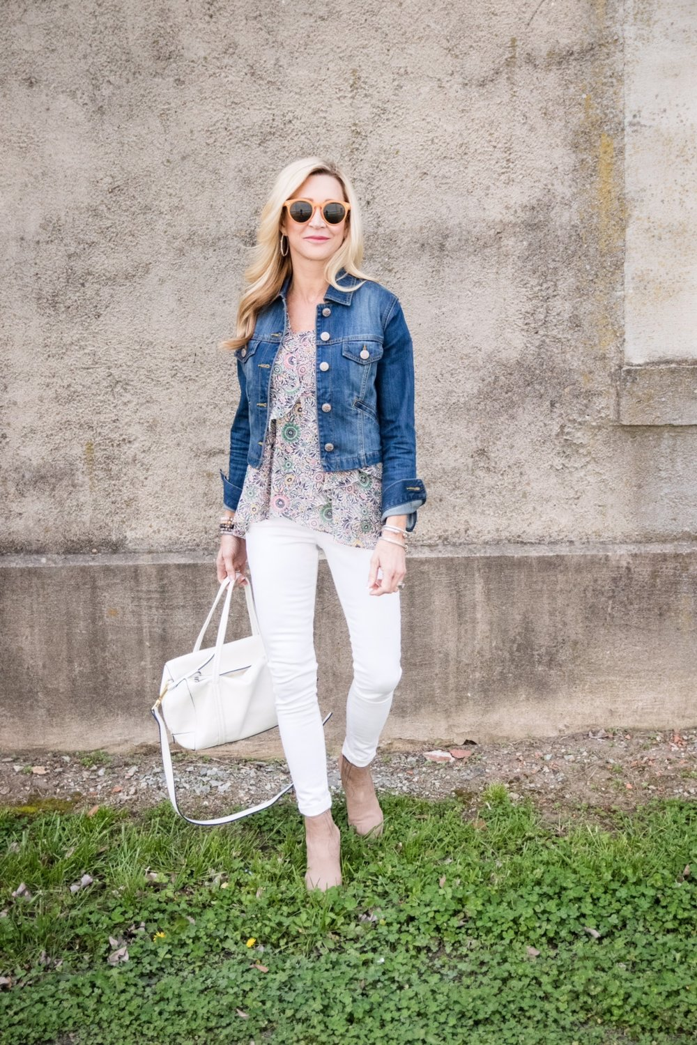 Spring Outfit Idea - Cabi top and jacket with Vera Bradley Bag and Target sunglasses