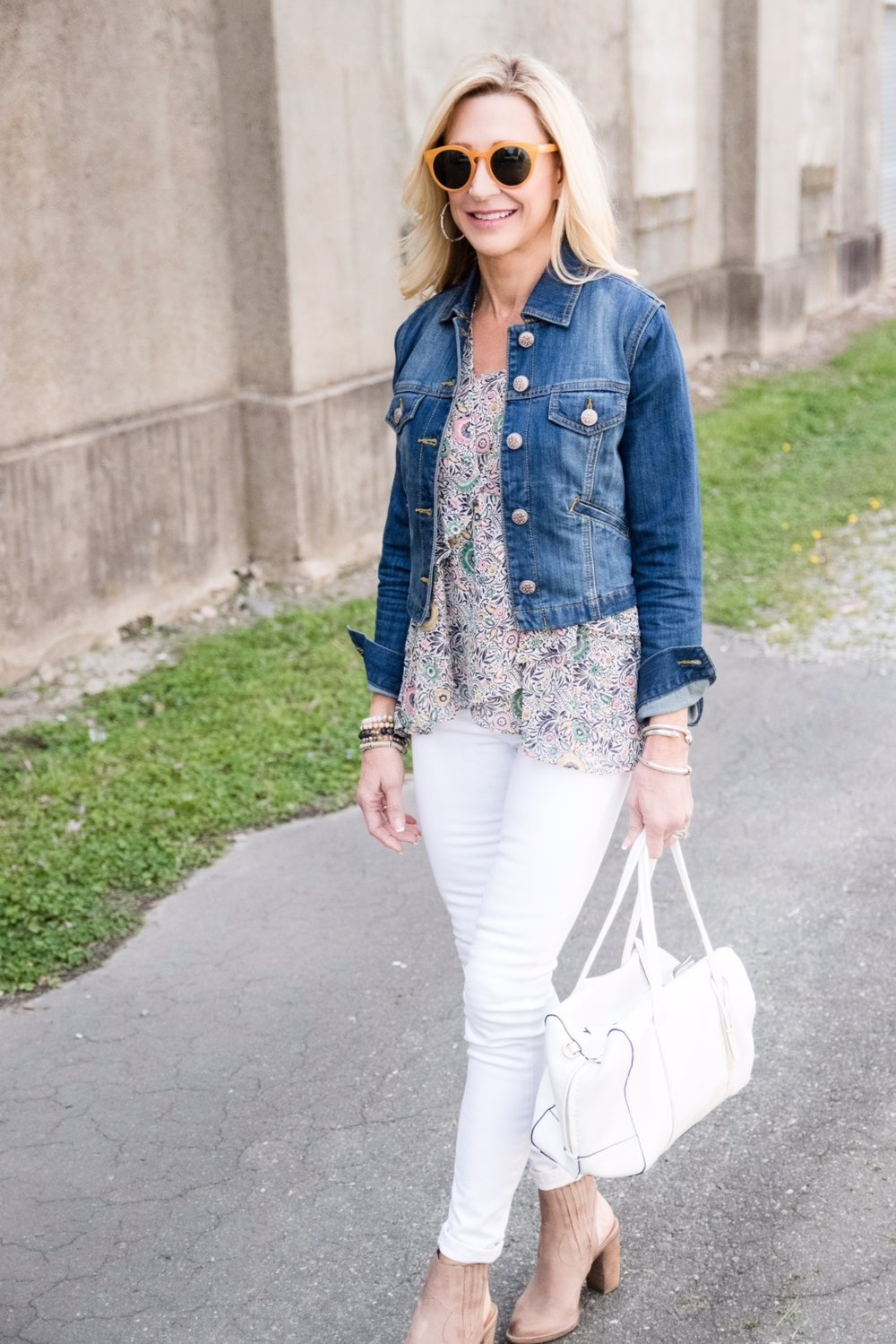 Spring Outfit Idea - Cabi top and jacket with Vera Bradley bag
