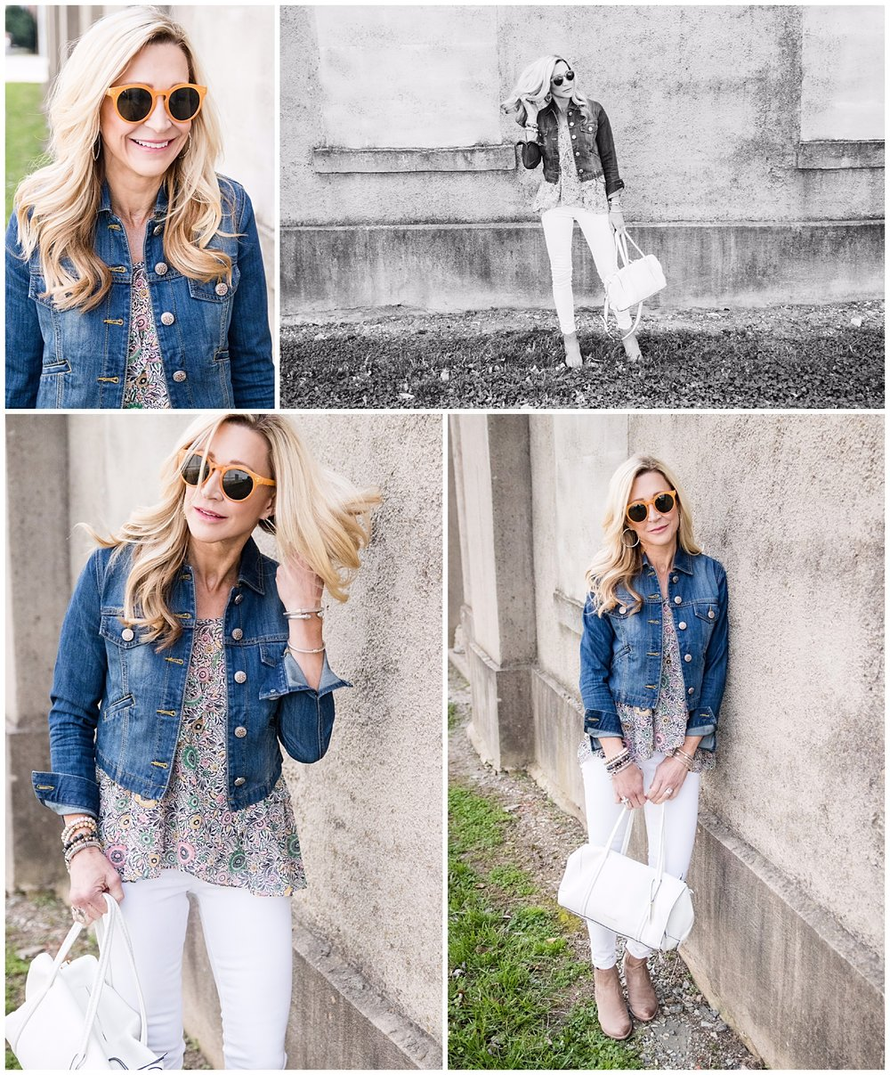 Spring Outfit Idea - Cabi jacket and top with Vera Bradley bag