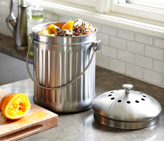 Stainless Steel Compost Pail - Williams Sonoma $38.00