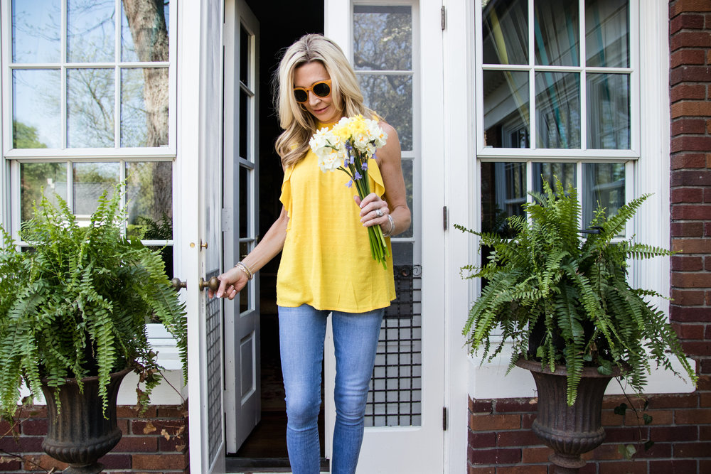 Anthropologie top and spring flowers