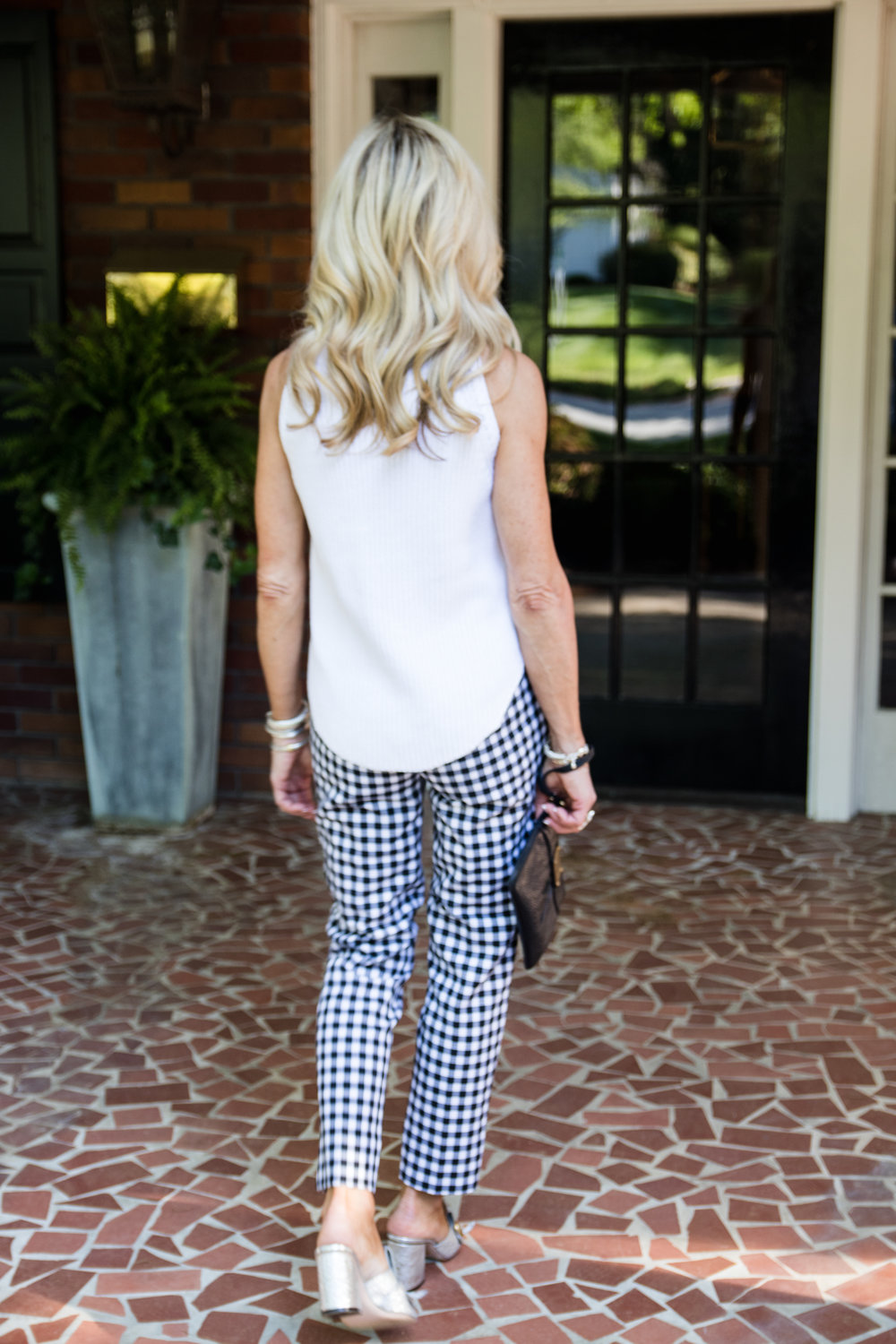 Gingham pants with Gucci Marmont mules