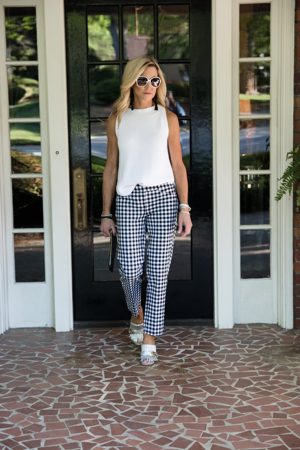 Gucci Marmont mules with Loft Gingham Pants