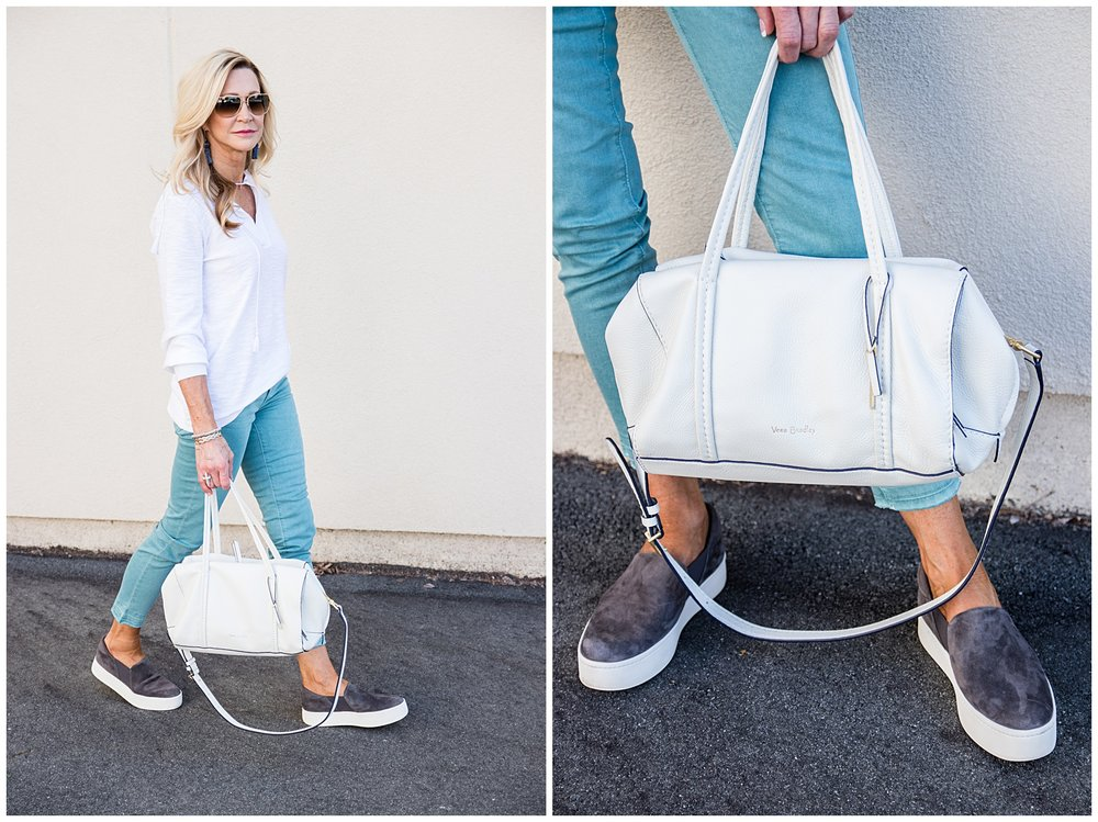 Loft jeans and top with Vince sneakers and Vera Bradley bag