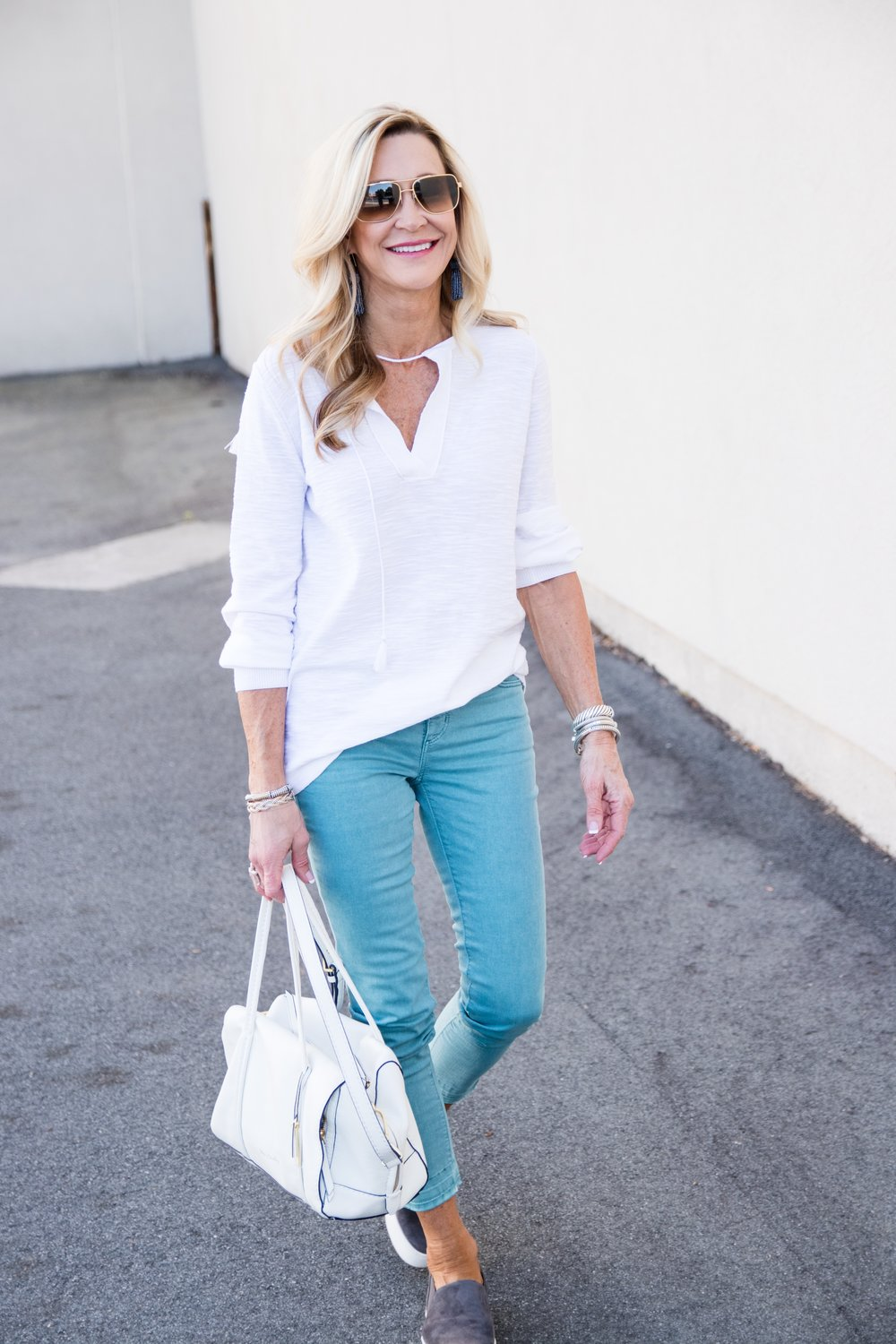 Casual Spring Outfit from Loft with Vince Sneakers and Vera Bradley bag