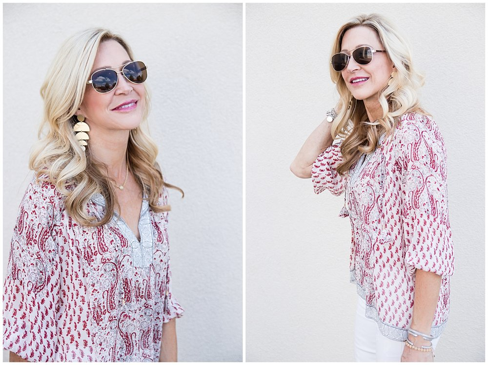 Ulla Johnson boho top with Vera Bradley sunglasses