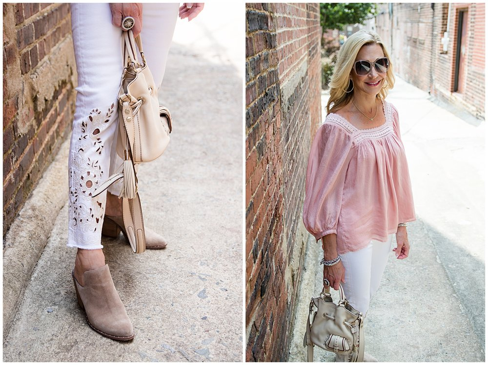 Cute spring outfit with boho top and Free People cutwork jeans