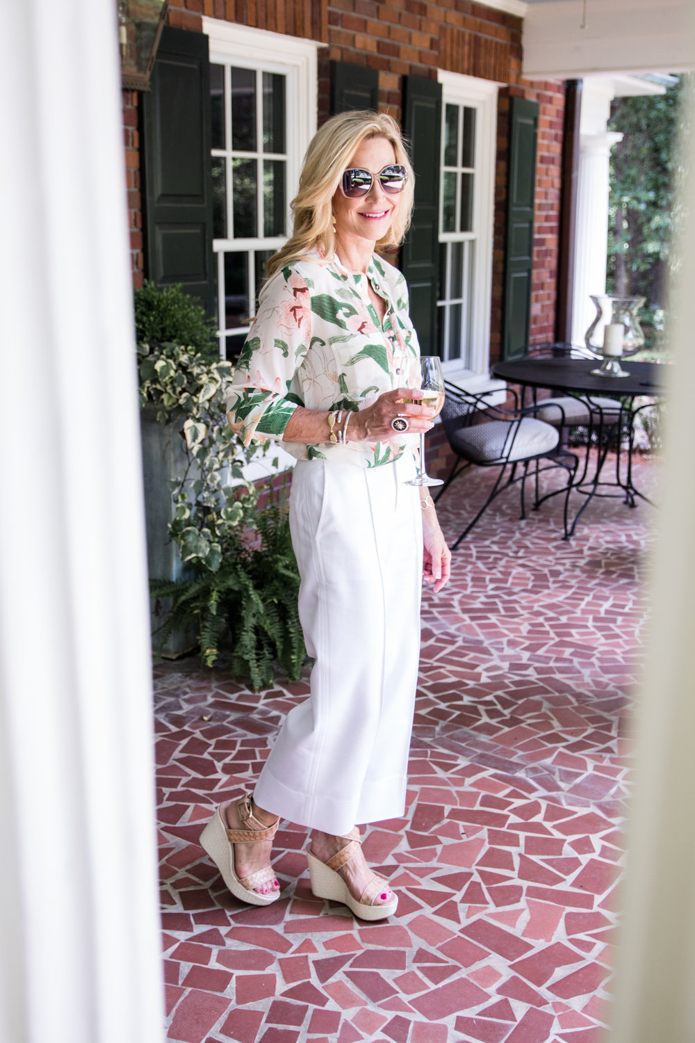 Summer White Pants with Floral Blouse