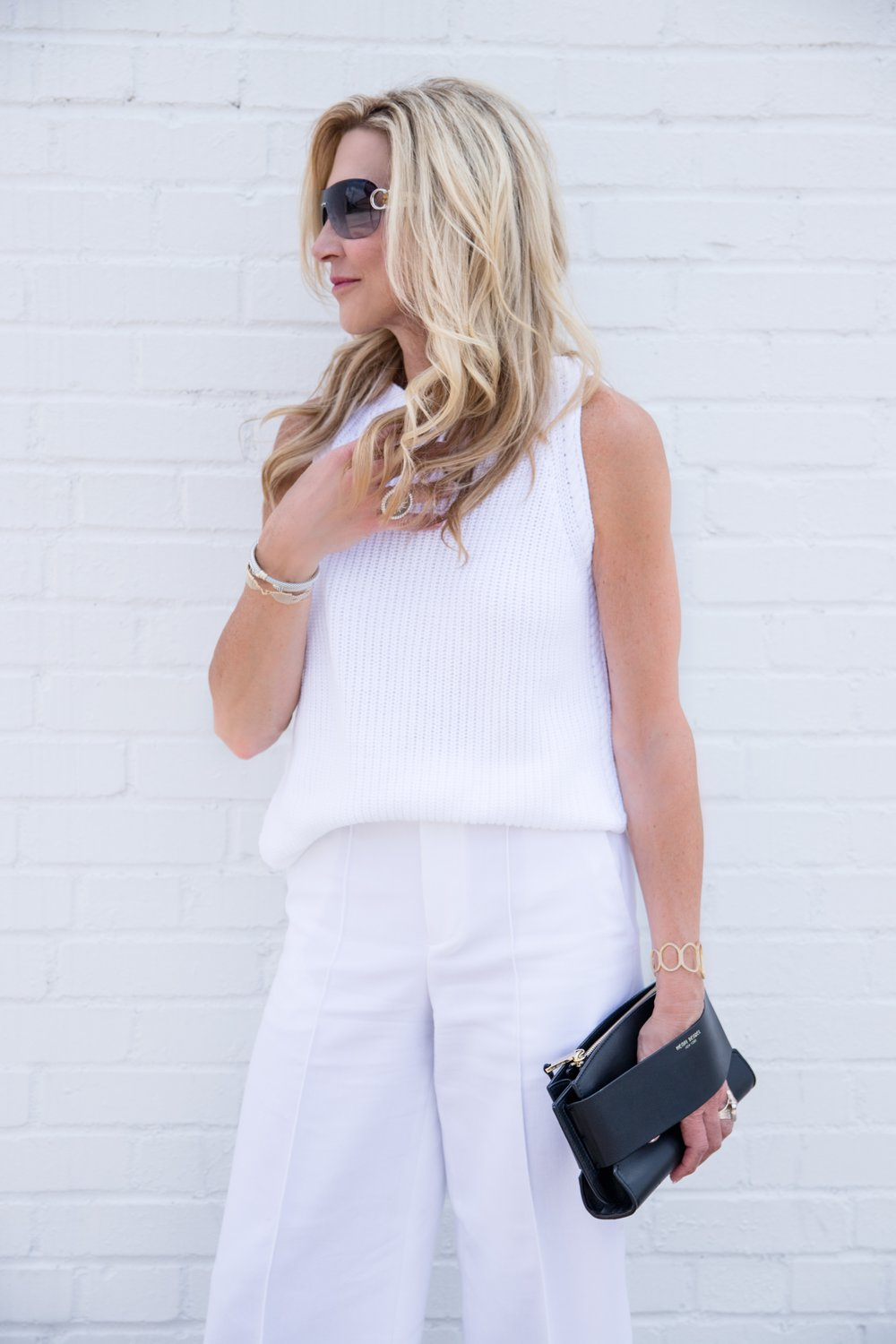 All white outfit with summer accessories