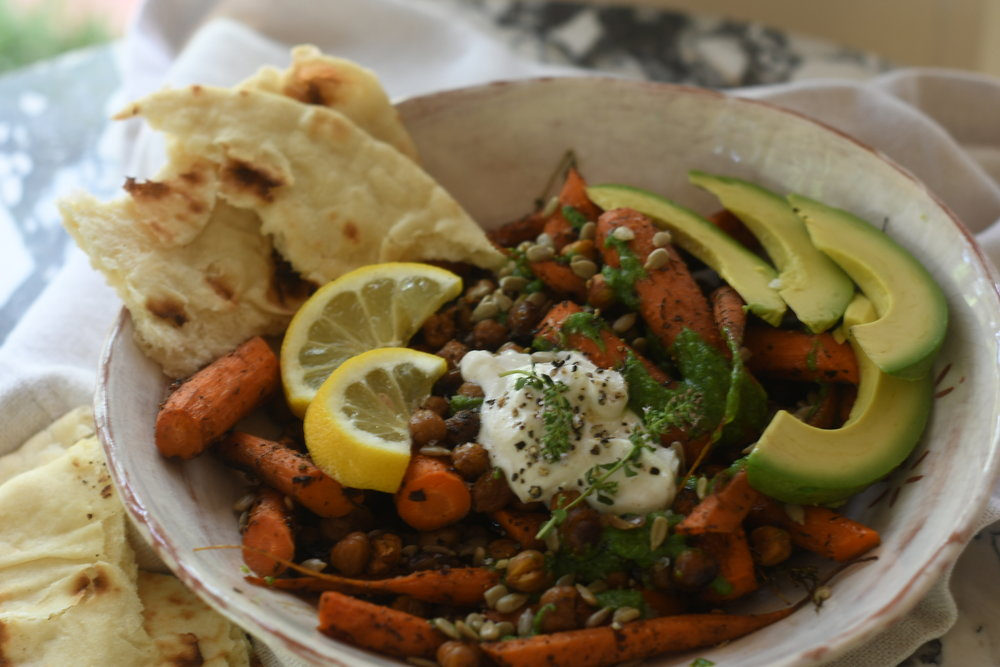 Roasted Carrots with Chickpeas and Avocado