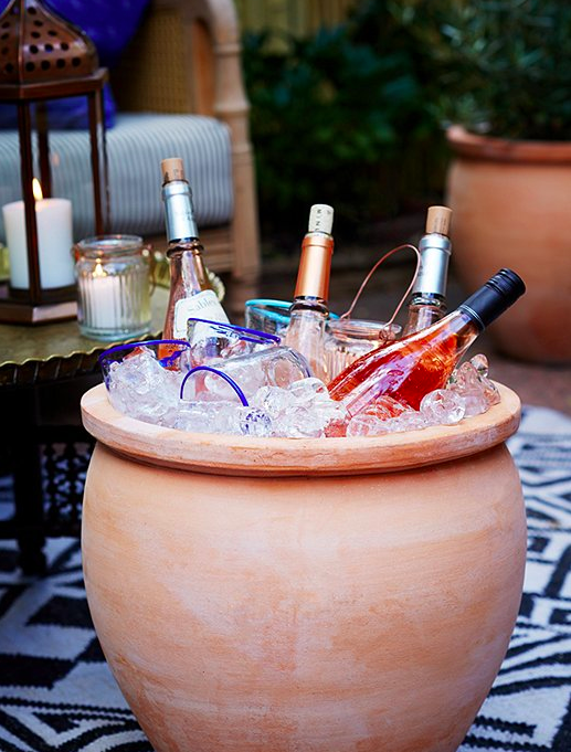 Planter as wine cooler