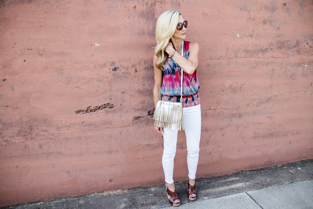 Tye dye shirt, white jeans, Tory Burch wedges and Rebecca Minkoff bag