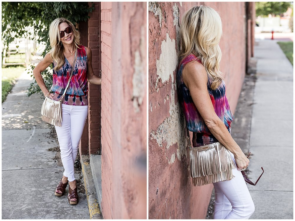 Tie dye top, white jeans, Tory Burch wedges, Rebecca Minkoff fringe bag