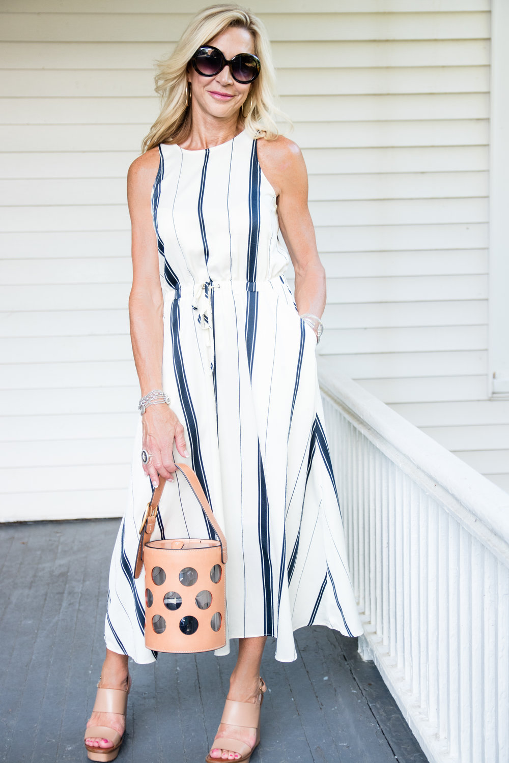 Loft Dress with Tory Burch bucket bag for July 4th