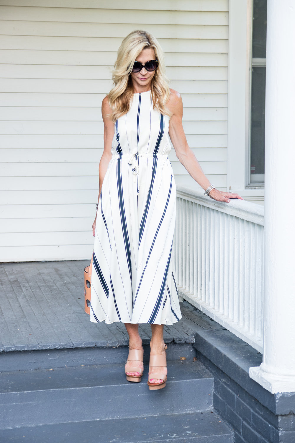 Loft dress with Tory Burch bag and shoes for July 4th