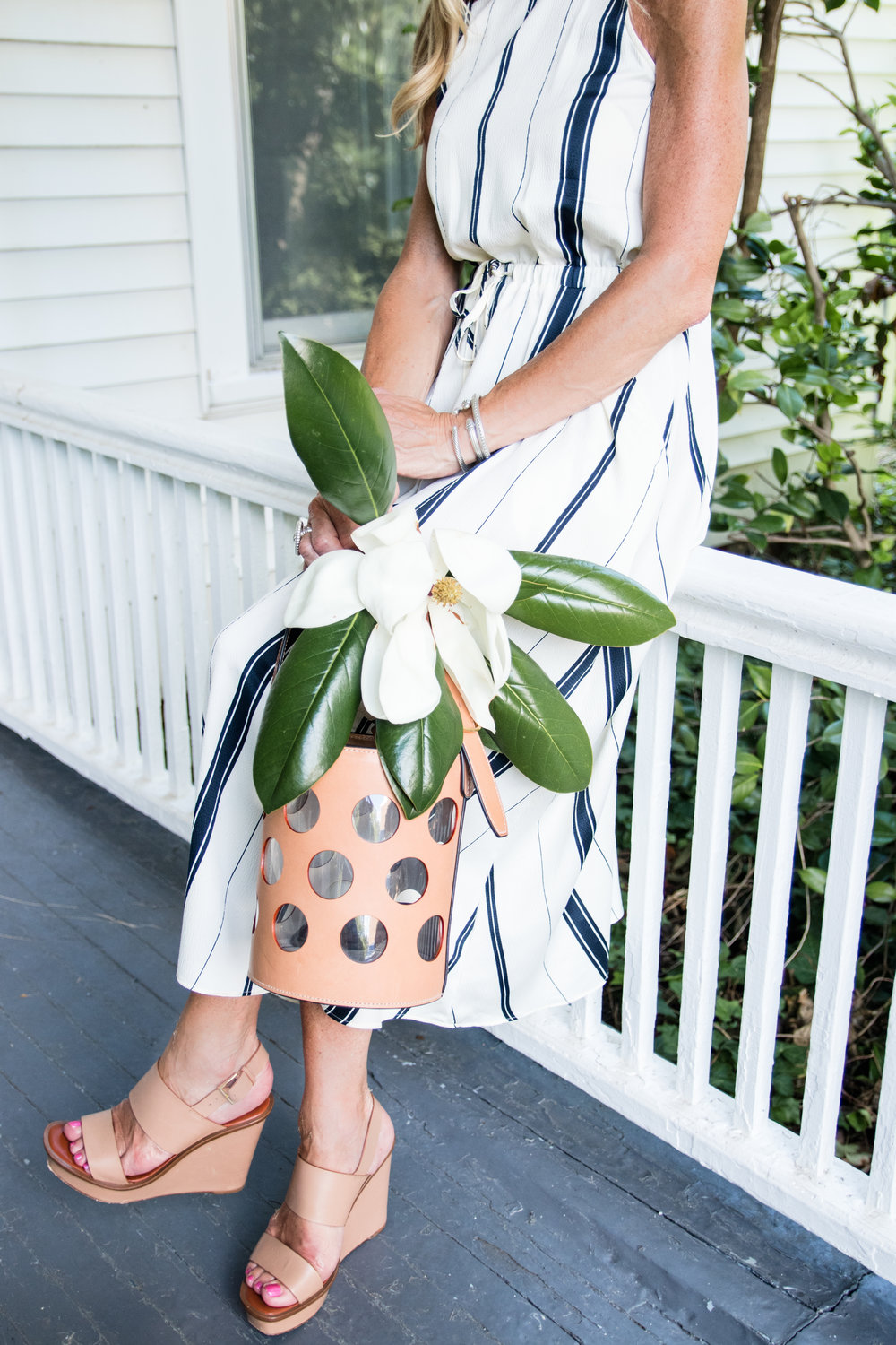 Loft dress with Tory Burch bag and shoes
