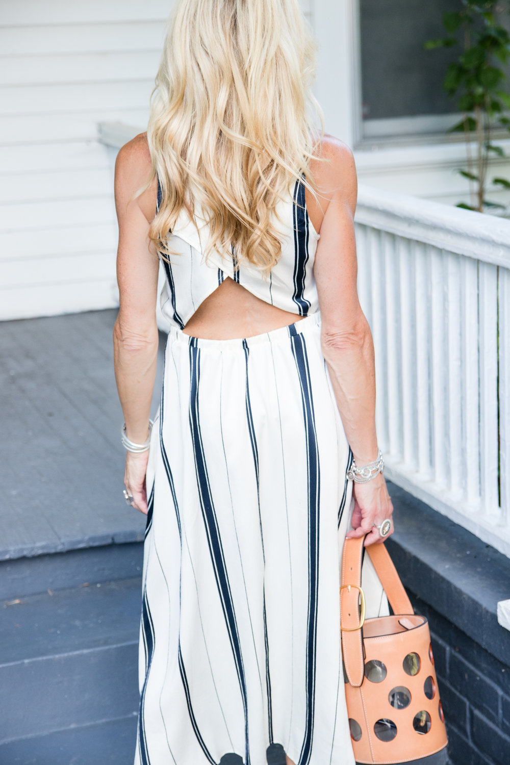 Loft dress with Tory Burch bag for July 4th outfit