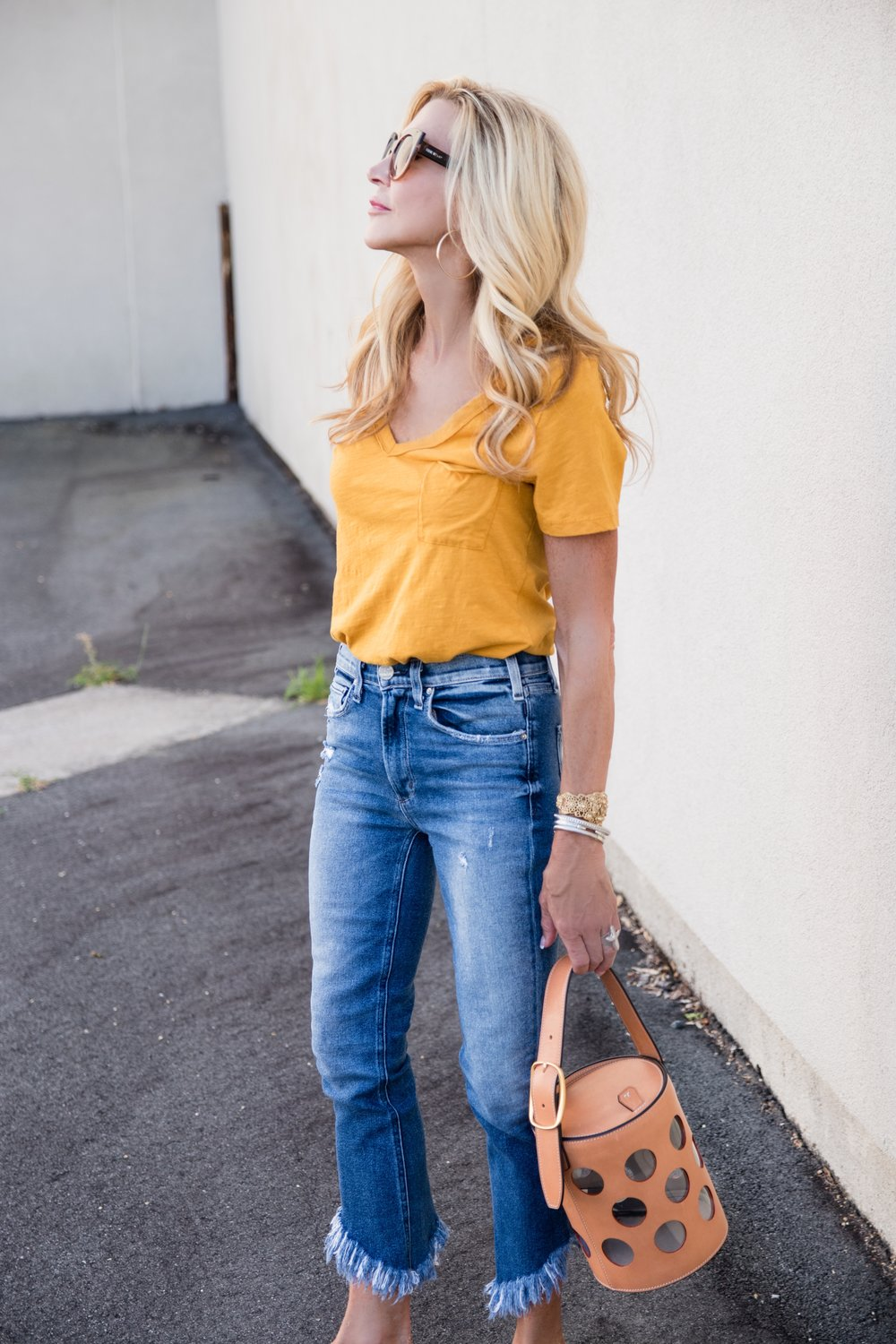 McQuire jeans, Tory Burch Bag, Anthropologie tee