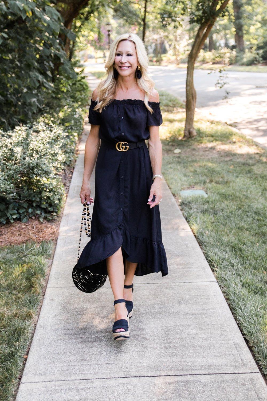 Black Loft Dress with Gucci Belt