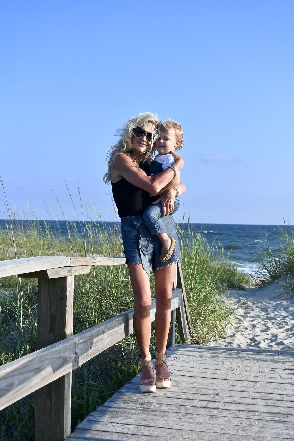Hudson and me at Bald Head Island - Beach Style