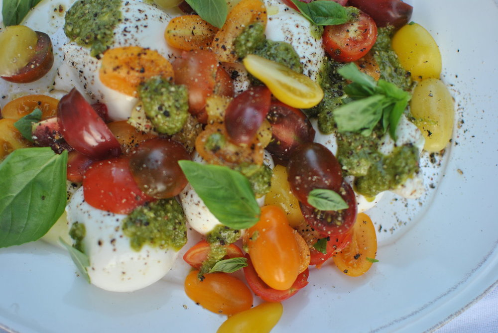 Buratta with Cherry Tomatoes and Pesto