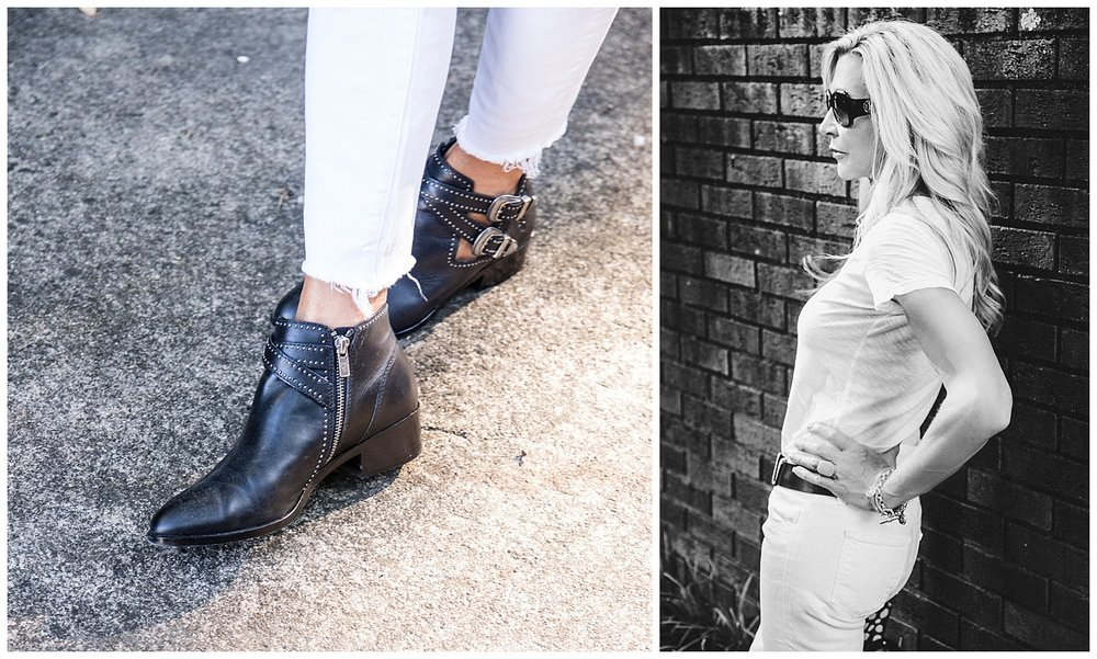 Frye booties, white jeans and tee with dark accessories