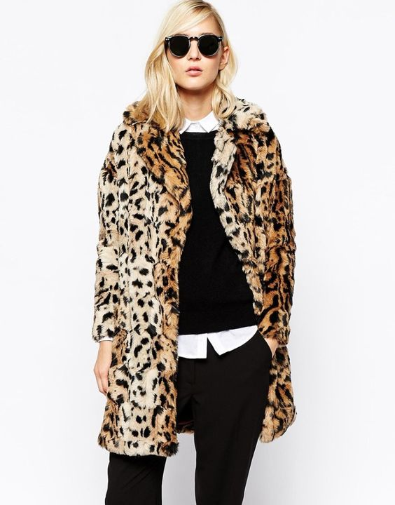 Leopard Coat with Crewneck sweater and White Blouse