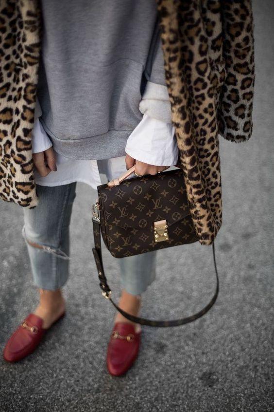 Leopard Coat with Grey Sweatshirt