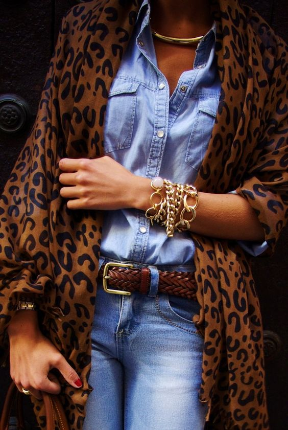 Leopard Coat with Chambray Shirt