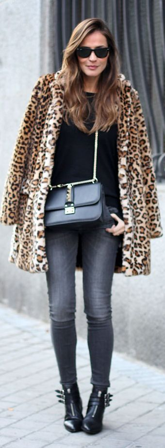 Leopard Coat with Grey Jeans