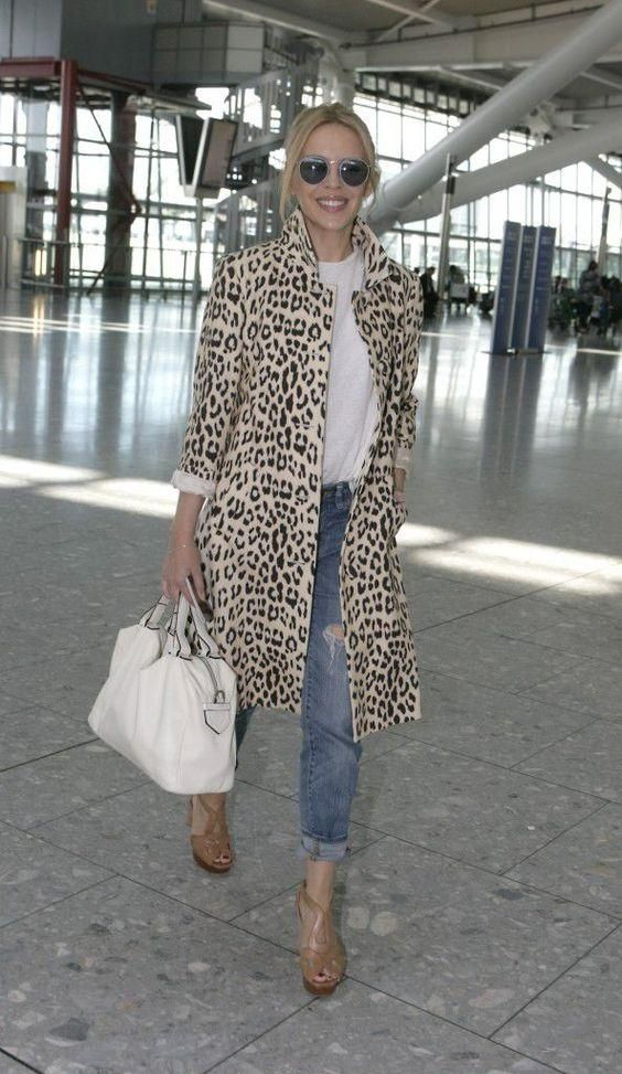 Leopard Coat with White Tee and Bag