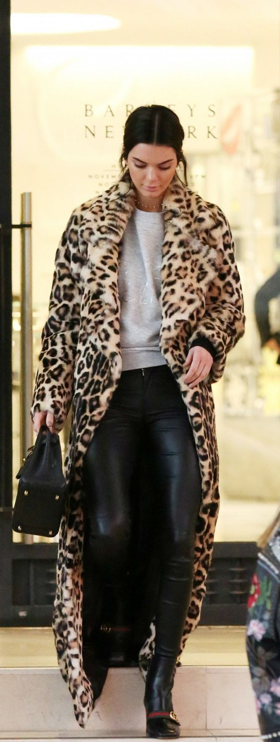 Leopard Coat with Leather Leggings