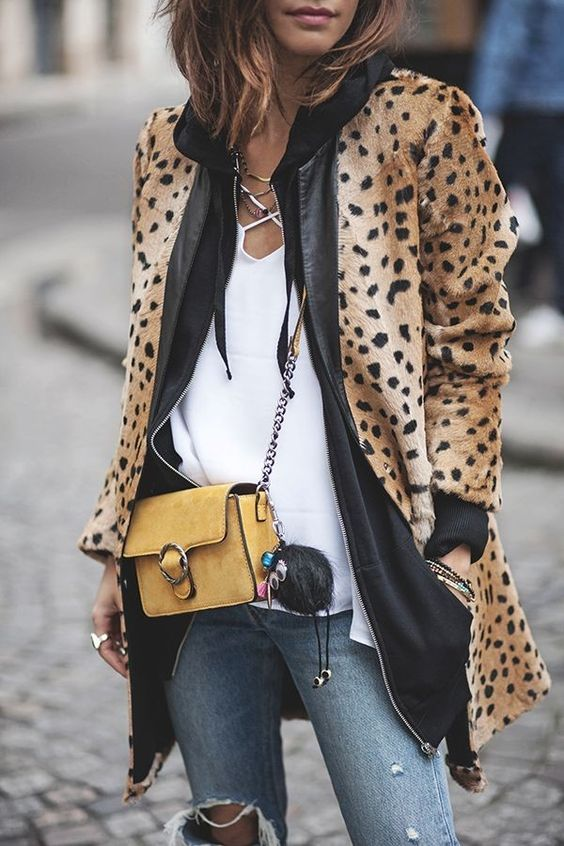 Leopard Coat with Black Leather Trim