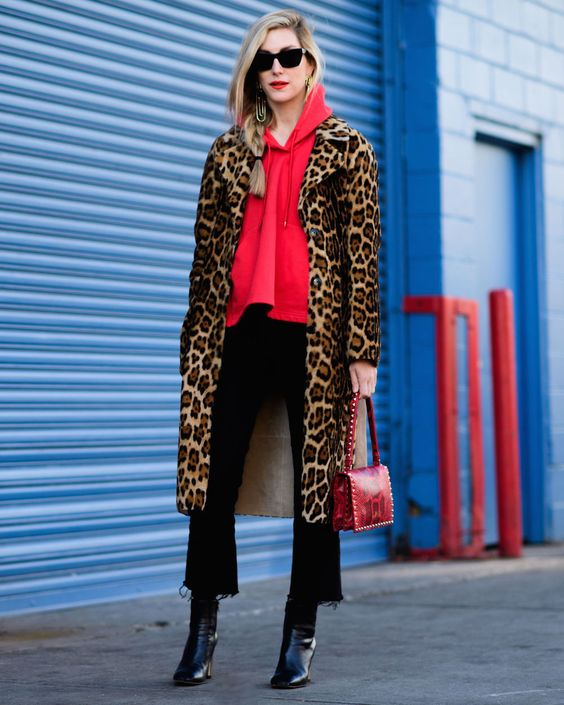 Leopard Coat with Red Top and Crop Flare Jeans