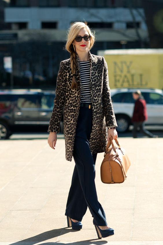 Leopard Coat with Striped Tee and Wide Leg Jeans