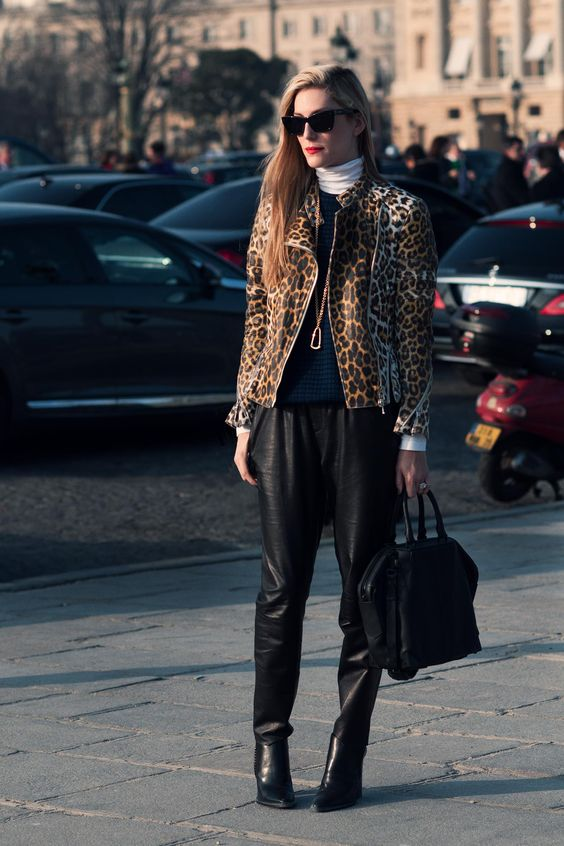 Leopard Coat with Black Sweater and Leopard Pants