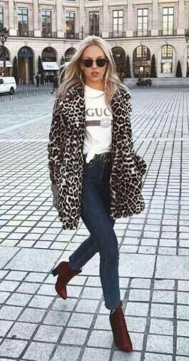 Leopard Coat with Gucci Tee