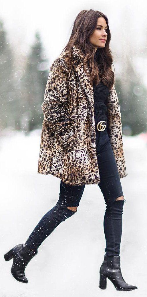 Leopard Coat with Black Jeans, Turtleneck and Gucci Belt