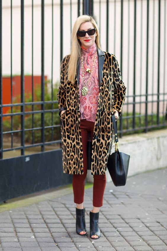 Leopard Coat with Printed Silk Blouse