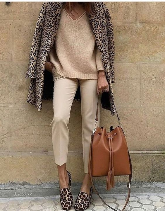 Leopard Coat with Tan Sweater and Pants and Leopard flats