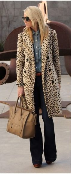 Leopard Coat with Chambray and Wide Leg Jeans