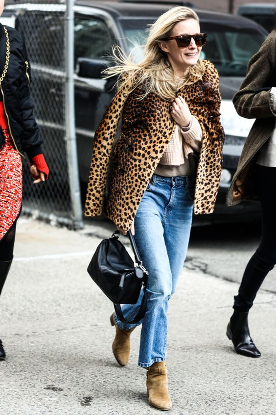 Leopard Coat with Cropped sweater